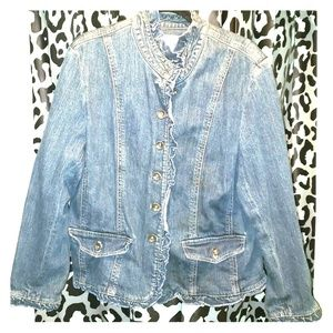 Coldwater Creek Denim XL Jacket with Ruffle Edge